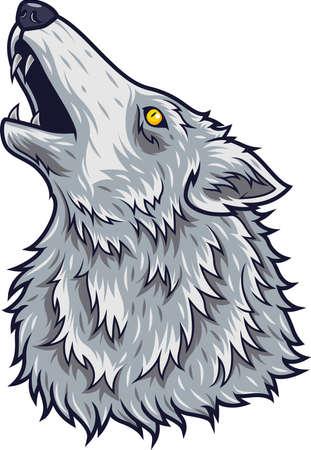Cartoon angry wolf head mascot Illustration