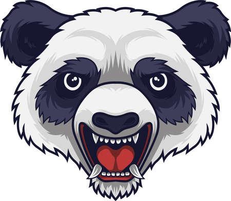 Angry panda head mascot