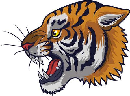 Angry tiger head mascot Illustration