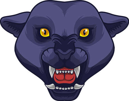 Angry black panther head mascot Illustration