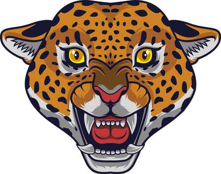 Angry leopard head mascot  イラスト・ベクター素材