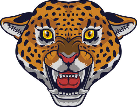 Angry leopard head mascot Illustration