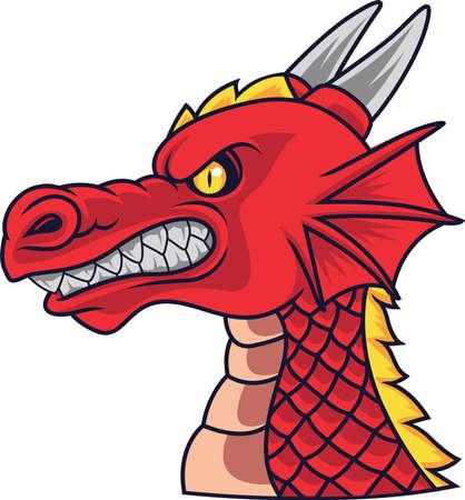 Angry dragon head mascot Illustration