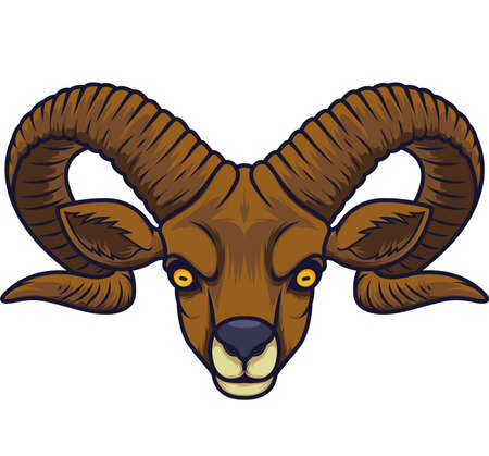 Angry goat head mascot Illustration