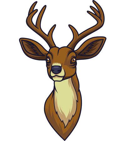 Mascota de cabeza de ciervo de dibujos animados