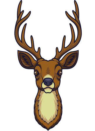 Mascota de cabeza de ciervo de dibujos animados Ilustración de vector