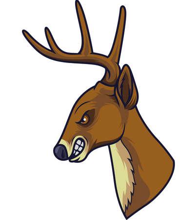 Angry deer head mascot
