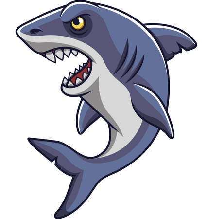 Cartoon angry shark mascot