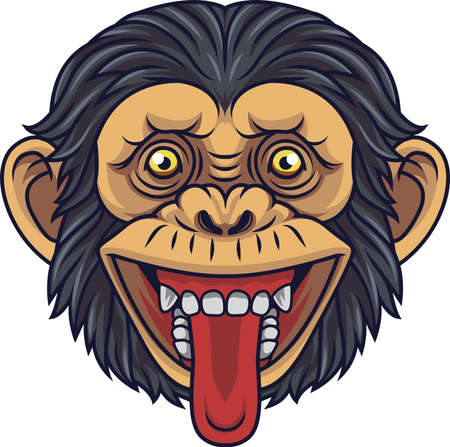 Cartoon Chimpanzee Head Mascot Showing Tongue