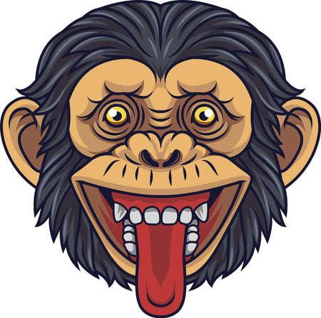 Cartoon Chimpanzee Head Mascot Showing Tongue