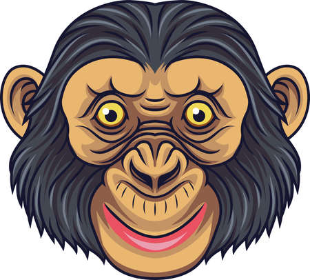 Cartoon Chimpanzee Head Mascot Illustration
