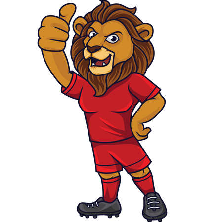 Cartoon lion soccer mascot showing thumb up Ilustrace