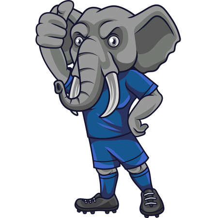 Cartoon elephant soccer mascot showing thumb up