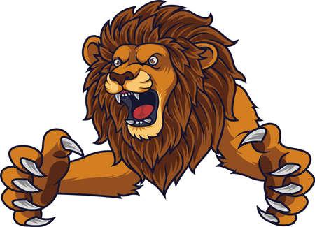 Lion sautant en colère Vecteurs