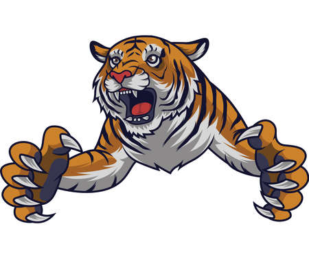 Angry leaping tiger Illustration