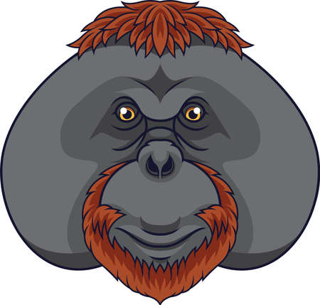 Cartoon orangutan head mascot