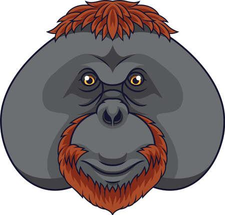 Cartoon orangutan head mascot