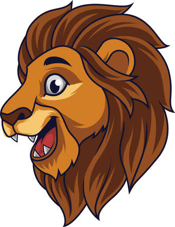 Cartoon lion head smiling Illustration