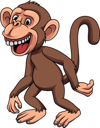 Cartoon funny little monkey