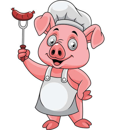 Cartoon happy pig chef holding a sausage on fork