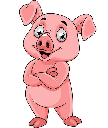 Cartoon happy pig posing
