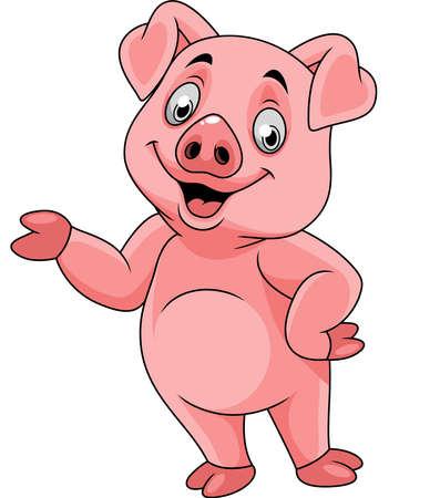 Cartoon happy pig presenting