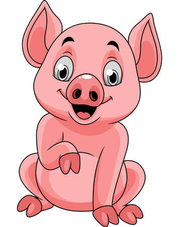 Cartoon happy pig sitting Ilustrace