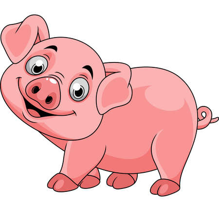Smiling pig cartoon