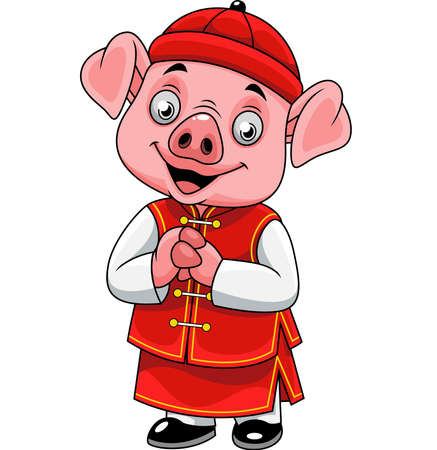 Cartoon happy little pig with traditional Chinese costume