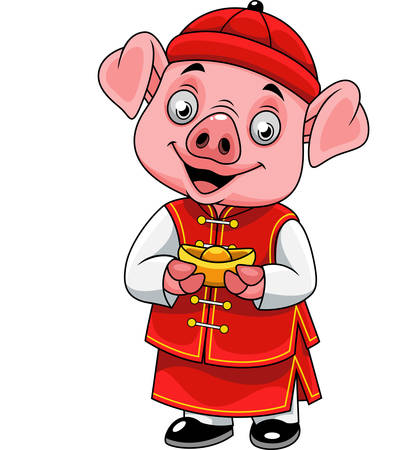 Cartoon happy little pig with traditional Chinese costume holding golden ingot Ilustrace