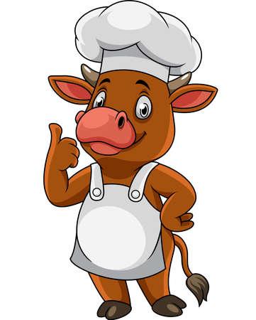 Chef de vaca feliz de dibujos animados dando pulgares