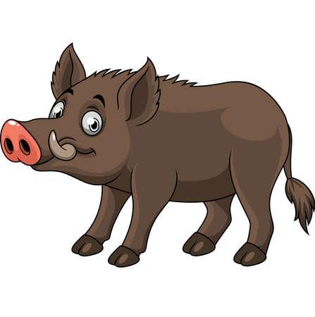 Cartoon funny wild boar Illustration