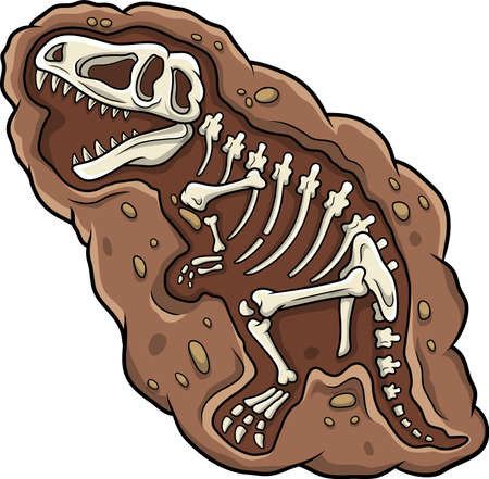 Cartoon T-rex dinosaur fossil Иллюстрация