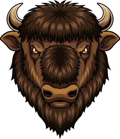 Mascotte testa di bisonte Vettoriali