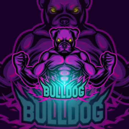 Bulldog sport mascot logo design Illustration
