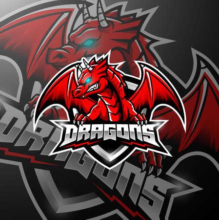 Red dragon esports logo design Illustration