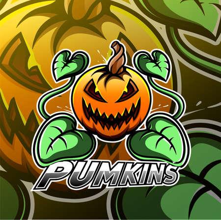 Halloween pumpkin esport mascot logo Illustration