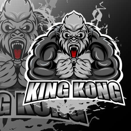 King kong esport logo mascot design