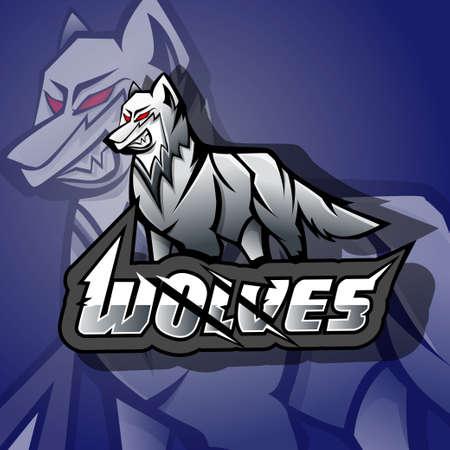 Angry wolves mascot esports logo Illustration