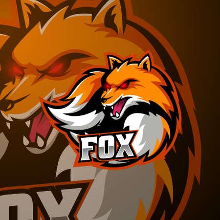 Angry fox mascot logo design Illusztráció
