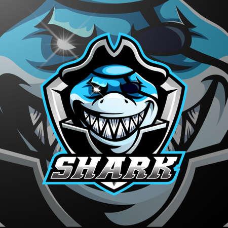 Pirates shark mascot logo design Illusztráció