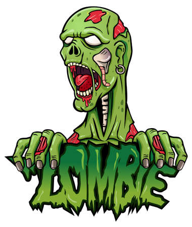 Cartoon zombie mascot logo design