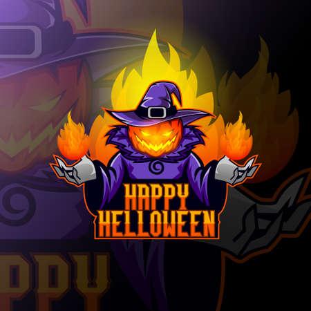 Pumpkin head in a witchs hat