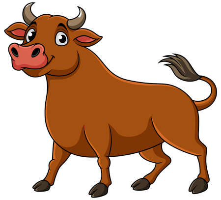 Cartoon happy brown bull standing