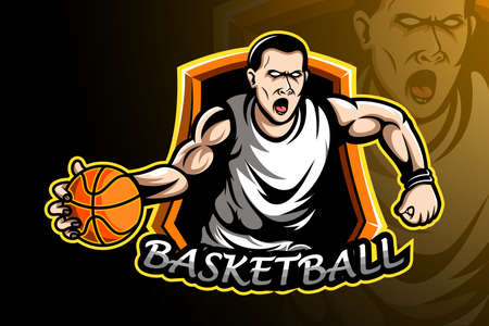 Basketball player sport logo design