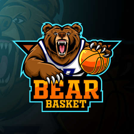 Bear basketball player mascot logo design