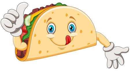 Cartoon taco giving thumbs up Фото со стока - 129793934