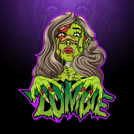 Scary zombie female cartoon head Ilustração