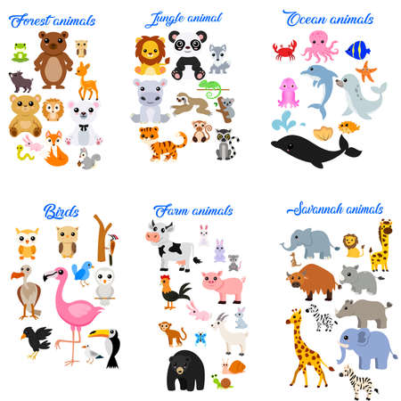 Big collection of cute cartoon animals