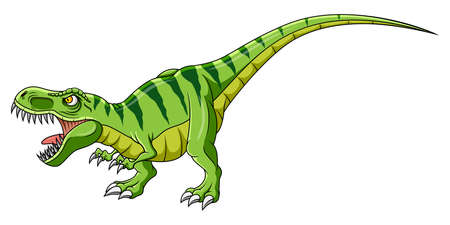 Cartoon green dinosaur on white background Ilustrace